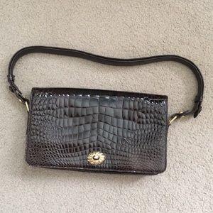 Vintage Donna Elissa Brown Croc Shoulder Bag
